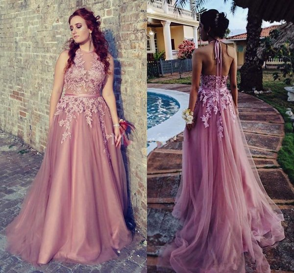 New Arrvial Cheap A Line Prom Dresses Lace Jewel Backless Tulle Illusion Formal Party Evening Gowns Special Occasion Dresses Custom Made