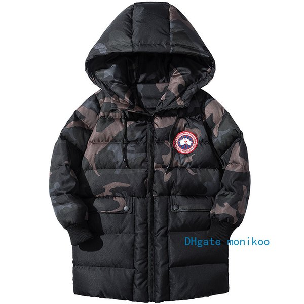 2019 Çocuklar Tasarımcı Kışlık Mont Tarzı Trendy Erkek Uzun Aşağı Ceket Konu Manşet Askeri Yeşil Kamuflaj Elyaf Iç Safra Erkek mont