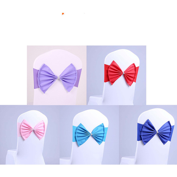 Elastic Organza Chair Covers Sashes Band Wedding Bow Tie Backs Bowknot Spandex Chairs Sash Buckles Cover Back Hostel Trim Pin