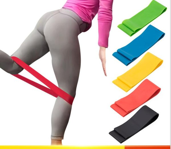 top popular Yoga Pilates Stretch Resistance Bands Set Exercise Fitness Loop Training Yoga Tension Belt Elastic Stretch Band Natural Latex band 2021