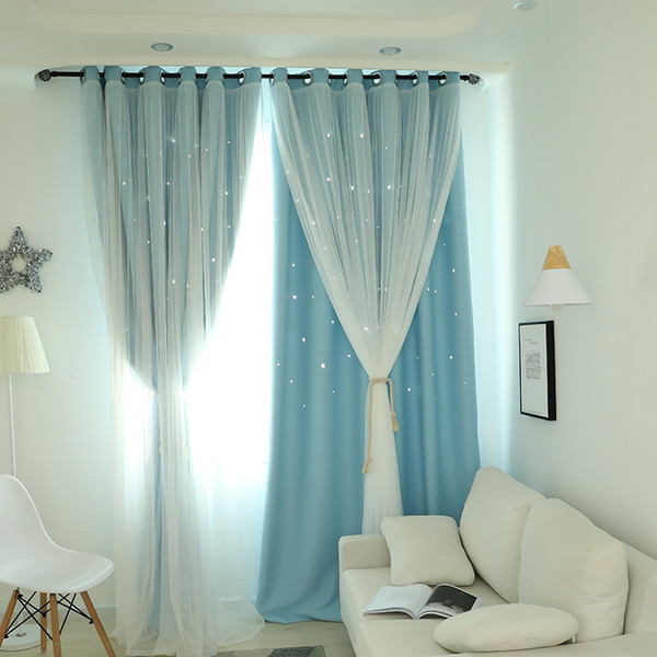 best selling Fansty Hollow Star Thermal Insulated Blackout Curtains for Living Room Bedroom Princess Room Blinds Stitched With White Voile