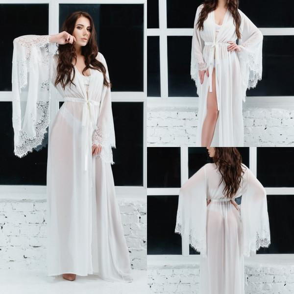 d234c1e9b6 bathrobes women chiffon Promo Codes - Sexy Chiffon Women Night Robe Bathrobe  Wedding Bride Bridesmaid Robes