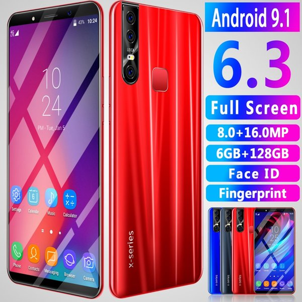 OEM X27 PLUS Fingerprint Face ID smartphones 6.3inch 4G 64G 16.0MP dual sim Android 9.0 Shown 4G LTE Cell phones