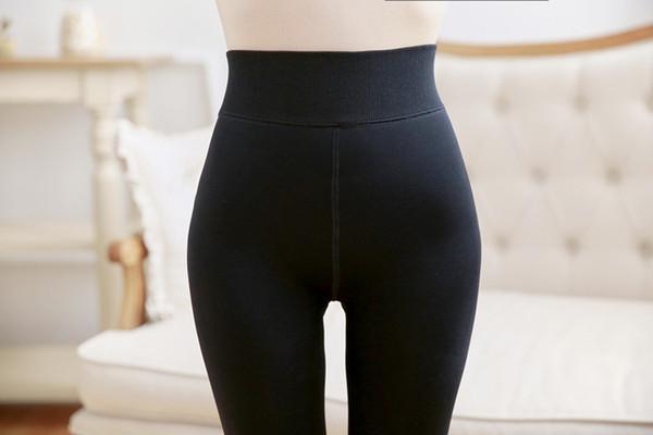 2019 new plus velvet thick nylon leggings autumn and winter ladies high waist Slim stockings warm layering foot pants