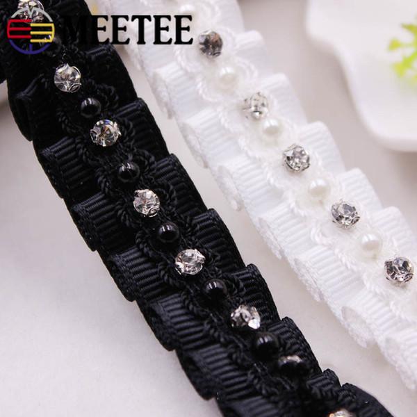 Meetee 20mm Beaded Strass Lace Ribbon Borsa fai da te Abbigliamento Tessitura Nastri Trims Accessori Carving Carti BD416