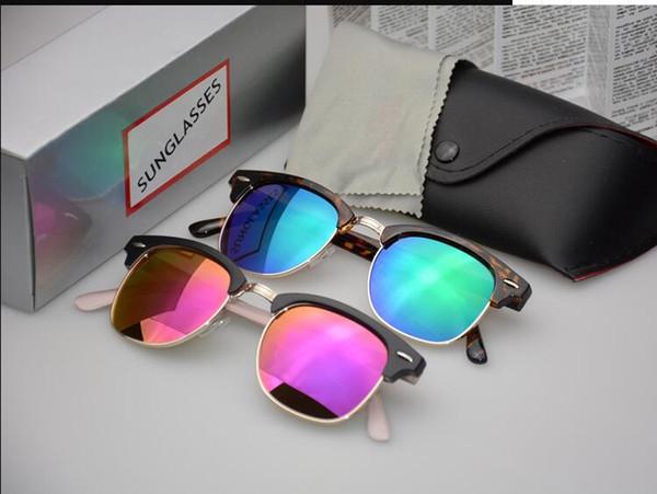 Klassische Halbmetall Sonnenbrille Männer Frauen Markendesigner Brille Spiegel Sonnenbrille Mode Gafas Oculos De Sol UV400 S1580 mit Fällen und Box