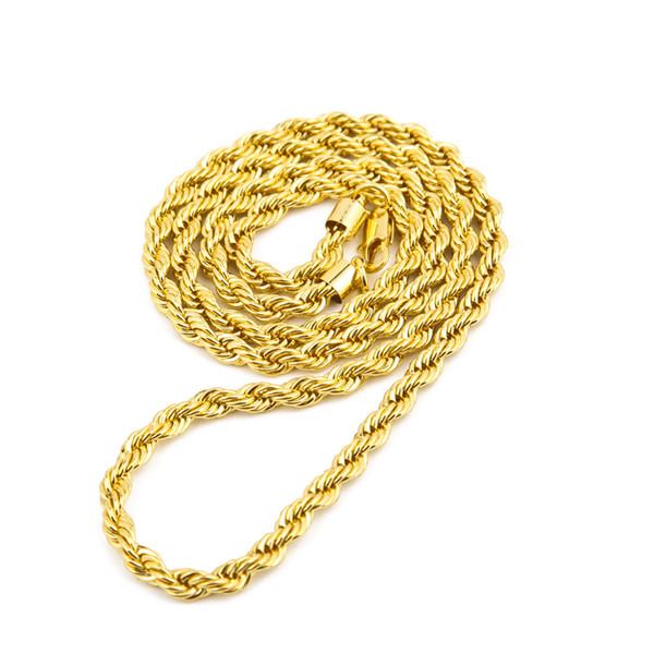 6,5 mm di spessore 80 cm di corda solida lunga intrecciata catena 14k oro placcato argento hip hop intrecciata collana pesante 160 grammi per uomo