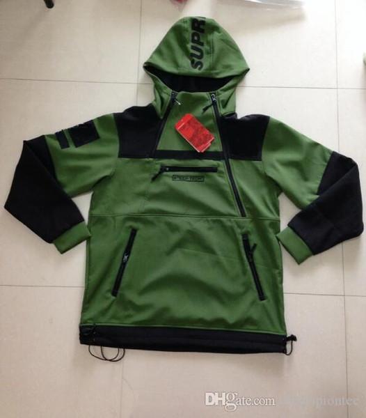3 Renkler Moda İşbirliği Kapüşonlular Ordusu Yeşil Dik Tech Kapşonlu Sweatshirt Erkekler Ve Kadınlar Fleece Hoodie Kabanlar Coat Yüksek Kalite