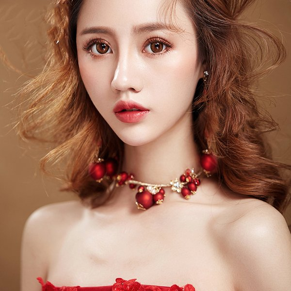Himstory Delicate Women Bridal Wedding Jewelry Set New Pretty Red Pearl Necklace Earring jewelry for Party Wedding Anniversary