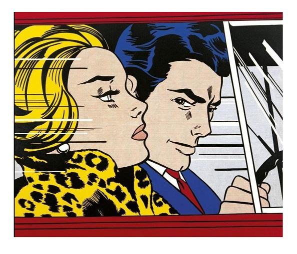 In the Car, 1963 by Roy Lichtenstein,HandPainted &HD Print Pop Wall Art oil Painting On Canvas Museum Quality Home Decor Multi Sizes R32.19
