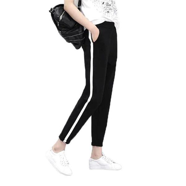 2019 Autumn Women Casual Harem Pants Pencil Trousers For Women Black Side Striped Thin Ankle-Length Pants Female 743594