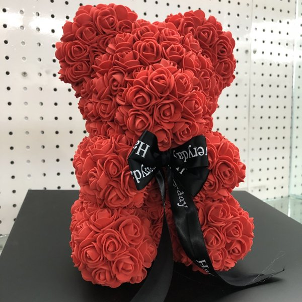 25cm Artificial Valentines Romantic Gift Box Rose Flower Teddy Bear Mothers Day Gift Cute Decorations Handmade Flower Bear DH01010 T03
