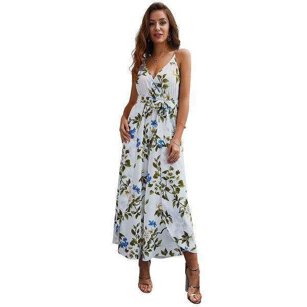 Summer Women Jumpsuit Beach Style 2019 Hot Sale V-neck Split Floral Printed Straps Sleeveless Jumpsuit