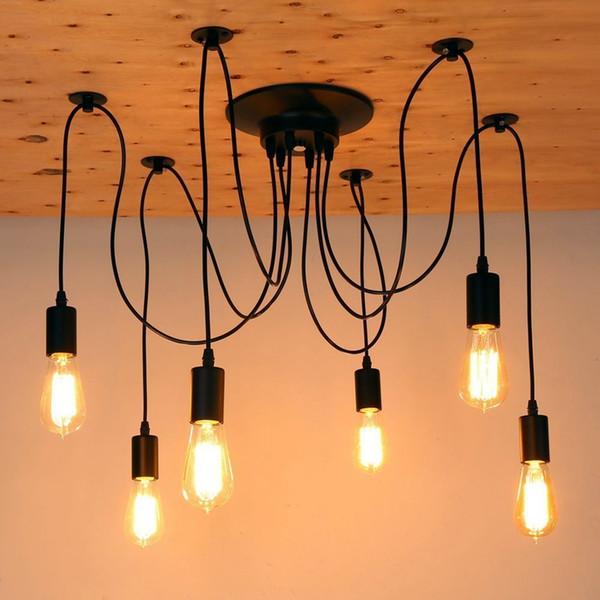 Ajustable DIY Ceiling Spider Lamp Retro Edison Bulb E27 Vintage lamps DIY Art Spider chandelier Lights 6 Head ( Bulbs not Included )