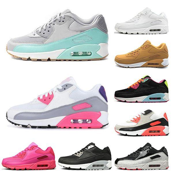 nike air max 90  Barato 90 tênis de corrida para homens das mulheres amarelo branco preto rosa mens formadores almofada respirável esportes de superfície sneakers tamanho 36-45