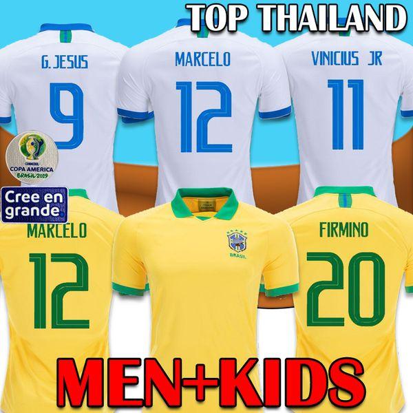 2019 Copa America Brazil Soccer Jersey Kids Long SLeeve COUTINHO FIRMINO 19 20 Camisa MARCELO PAQUETA P.Coutinho Football Shirt