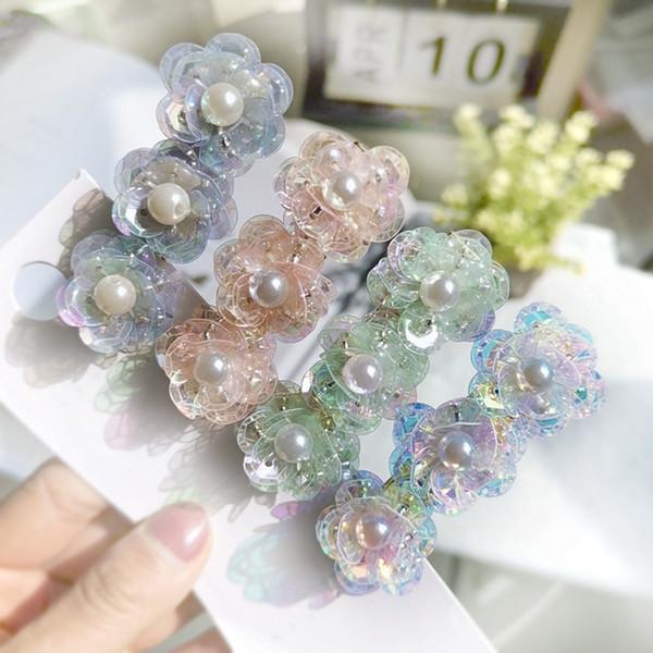 Fashion girl crystal flower pearl hair clip lady diamond hairpins