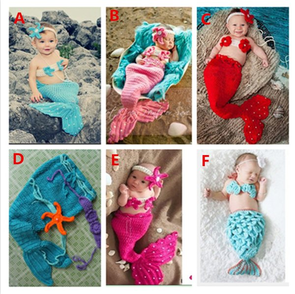 Free shipping Very lovely newborn mermaid sleeping bag soft material baby photography props baby photo bath gift