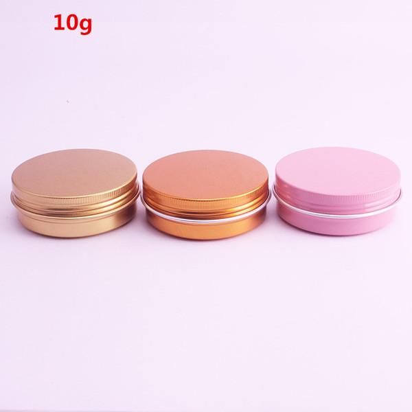 10g vide Jars Aluminium Rose Or Rose Argent Métal Tin Batom Crème Lotion cosmétique Contenants d'emballage Crafts 50pcs