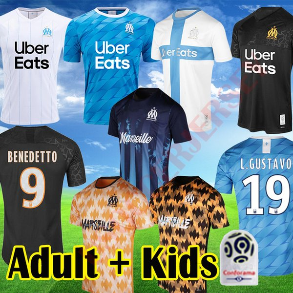 best selling 19 20 BENEDETTO Olympique de Marseille soccer jersey Kids Uniform PAYET OM Adult away Blue Third Marseille 120th L GUSTAVO THAUVIN Shirts