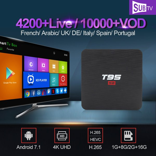 France Italy IPTV SUBTV 1 Year IPTV Subscription T95 S2 Android 7.1 TV Box France Arabic Spain Portugal Turkey Canada IP TV
