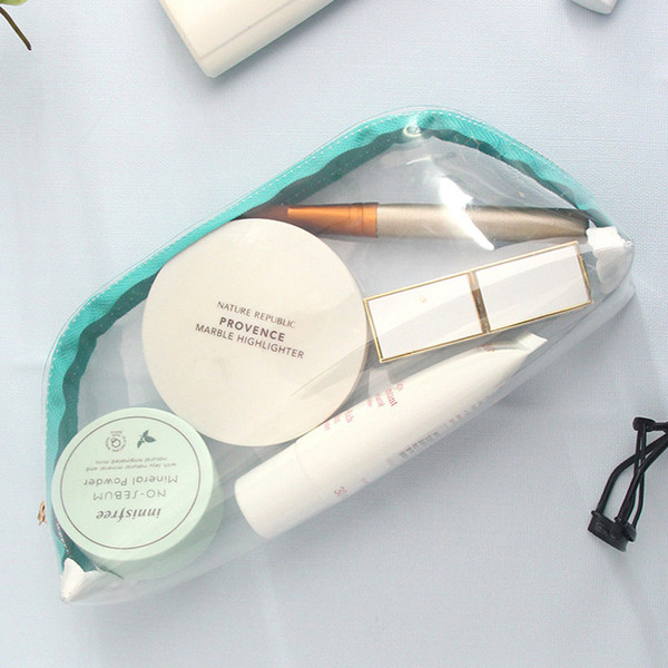 Transparentes bolsas de cosméticos de PVC para las mujeres del organizador del recorrido Claro maquillaje bolsa caso de la belleza Neceser componen el bolso Bolsas Lavado