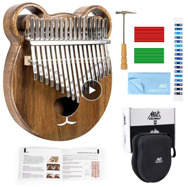 best selling Aklot Kalimba Thumb Piano Marimba 17 Keys Solid Wood Carry Case Tuning Hammer Study Booklet Cleaning Cloth Sticks