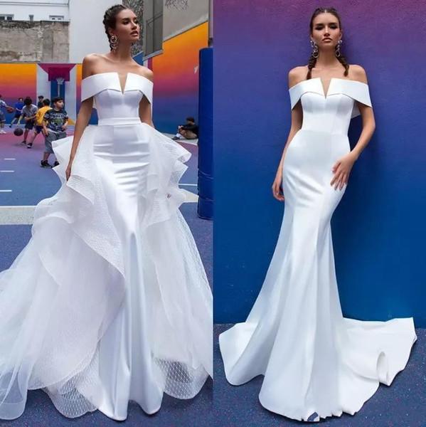 Vintage Berta Mermaid Wedding Dresses Detachable Train Off The Shoulder Short Sleeve Pleats Open Back Beach Wedding Dress Bridal Gowns