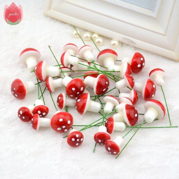 10pcs Mini Foam Mushroom Artificial Plant Flowers For Wedding Fungus Decoration Diy Wreath Gift Scrapbooking Craft Bacterium C19030201