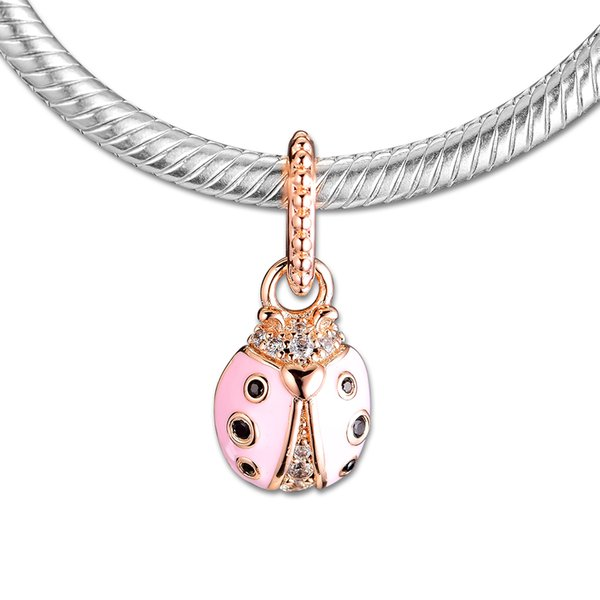 2019 Spring 925 Sterling Silver Jewelry Lucky Pink Ladybug Charm Beads Fits Pandora Bracelets Necklace For Women DIY Making