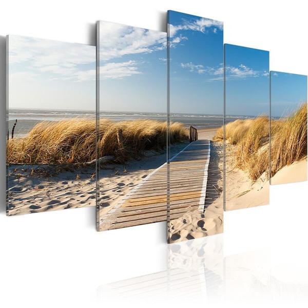 top popular ( No Frame)5PCS Set Modern Landscape Wild Beach Art Print Frameless Canvas Painting Wall Picture Home Decoration 2021