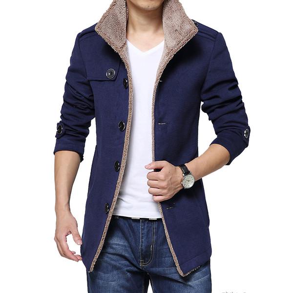 Marque Mode Hommes Veste d'hiver unique poitrine pied de col Slim Fit Hommes Caban de haute qualité Hommes Casual Manteau de XXXXL