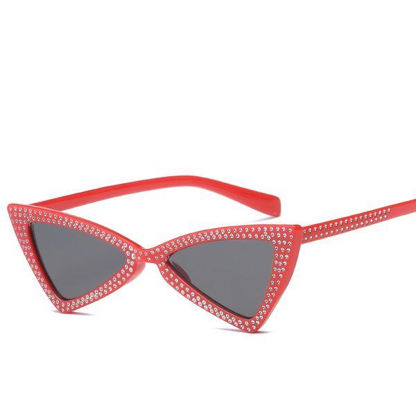 New Top Diamond Triangle Sunglasses Fashion Kitten Eye Sunglasses Brand Designer Men's and Women's Diamond Triangle Sunglasses Free Shipping