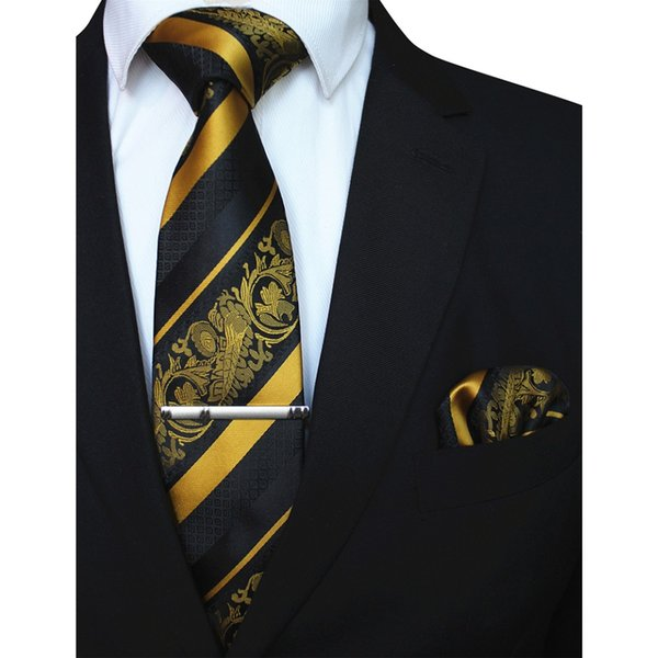 83af4a6222ee RBOCOTT 3PCS Men's Floral Tie Handkerchief Set Yellow Striped 8cm Necktie  Pocket Square Tie Clip Red