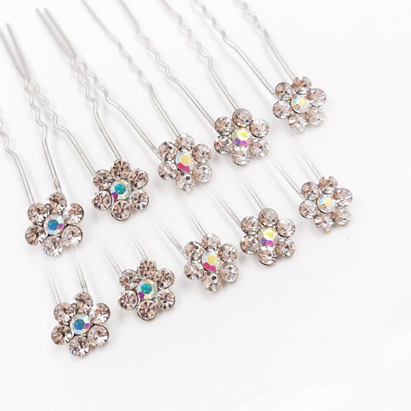 Fashion Sellsets 20pcs Flower Crystal FLAT Hair Pins For Bridal Wedding Jewelry Accessories Baby Hair Jewelry Clip