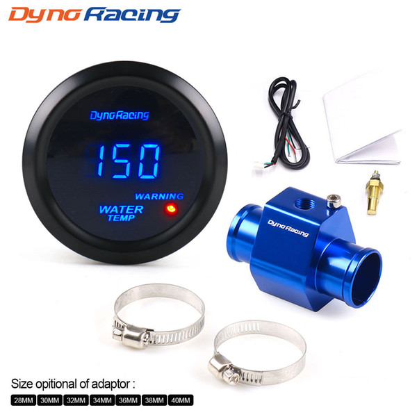 best selling 2'' 52MM Car Digital Blue Led Water Temperature Gauge 40-150 Celsius With Water Temp Joint Pipe Sensor Adapter 1 8NPT