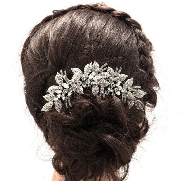 bride accessories Fashion Leaves Flower Wedding Comb Clear Rhinestone Crystal Bride Hair Accessories Women Jewelry XBY688