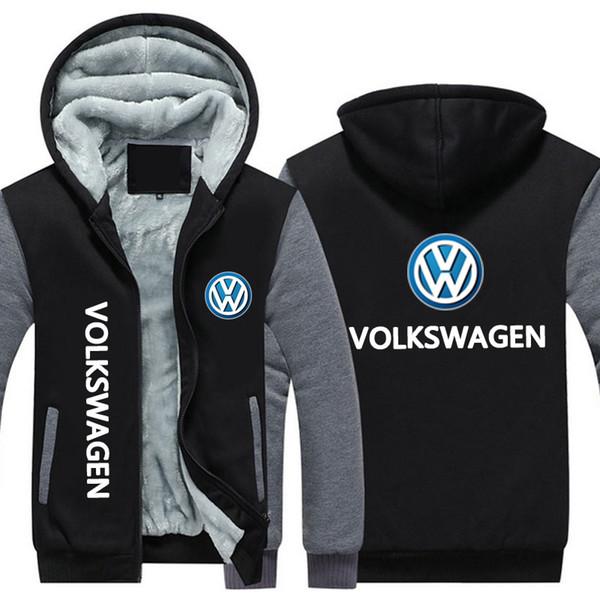 Nuovo inverno hoody volkswagen auto logo stampa Uomo donna Warm Fleet Hoodies autunno vestiti felpe Zipper giacca in pile con cappuccio streetwear