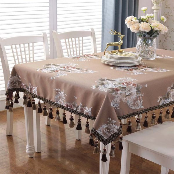 De gama alta Retro Tela de Mesa Bordada Jacquard de Lujo Sólido Mantel Borla Toalha De Mesa Royal Linen Dinning Table Covers