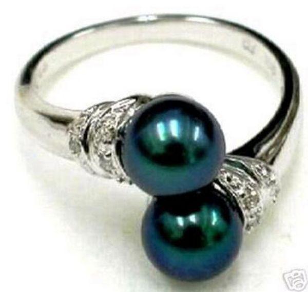 Envio Livre Negro Shell Pearl tamaño del anillo
