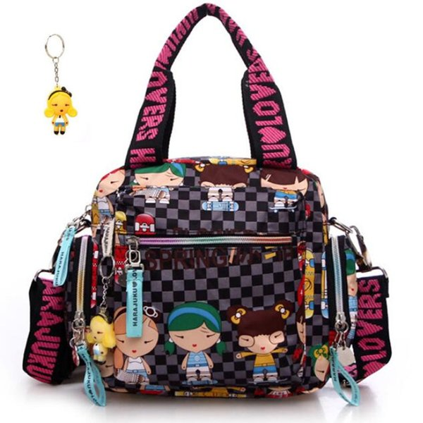 New+harajuku Doll Key Chain Waterproof Nylon Handbag Ladies Bag One Shoulder Cartoon Bolsos Cross-body Bags Handbags Mother BagMX190824