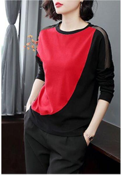 Printemps et automne nouveau t-shirt à manches longues pour femmes top décontracté à encolure arrondie t-shirt en coton de qualité supérieure chemise à manches courtes Tee-shirt femme Frauen