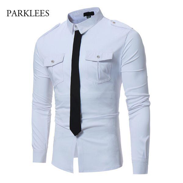 Mens Fake Tie Designed Dress Shirts 2018  Hit Color Slim Fit Long Sleeve Shirt Men Business Social Chemise Homme Work Shirt