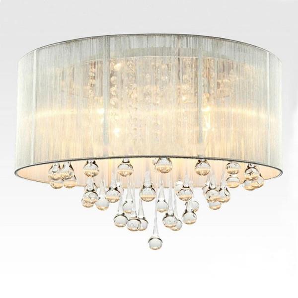 Modern Drum Pendant Light Fabric Shade Rain Drop Crystal Chandeliers 6 Lights E14 E12 Bulb Crystal Lamp Light Fixture D 45cm Home Light Fixtures