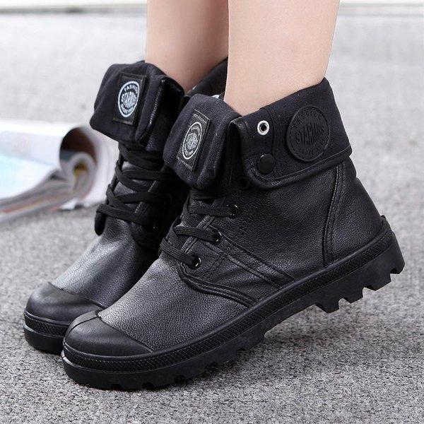 Martin chaussures couple haut de gamme PU usine de vente directe de nouvelles chaussures en cuir à semelles épaisses imperméables militaires, hommes et femmes chaussures marée