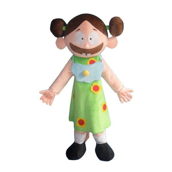 Lovely Big Mouth Girl Custom Mascot Costume Adult Size Costume With Fan Inside Head For Commercial Advertising promotion