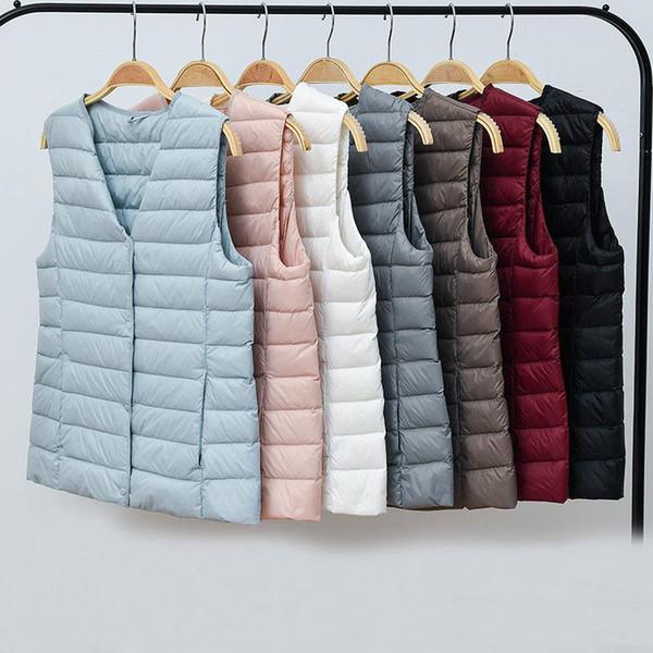 새로운 패션 여성 민소매 코트 가을 겨울 울트라 라이트 화이트 덕 다운 조끼 따뜻한 슬림 조끼 자켓 여성 양복 조끼 SF1453