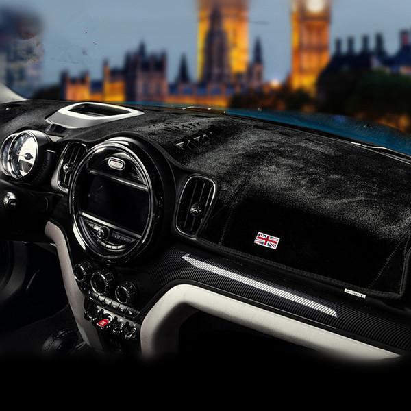 Tapis de bord noir de voiture de velours fine Evitez la sécurité légère Drive Protection anti-éblouissante Couverture de protection pour Mini Countryman F60 2017 2018 Haute Version Basse