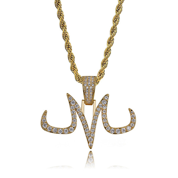New Fashion 18K Gold Plated Iced Out Diamond Personalized Tattoo Mark M Letter Pendant Necklace Full CZ Cubic Zirconia Jewelry Gifts for Men