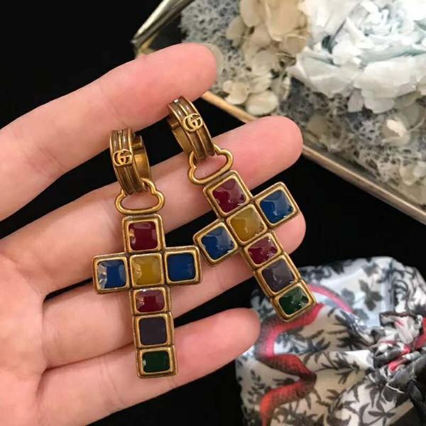 Europa und Amerika Mode OL Frauen Ohrringe Vergoldet Kreuz Ohrringe Clips für Mädchen Frauen für Party Hochzeit